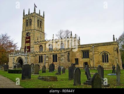 St Peter's Church in Conisbrough which is the oldest building in South Yorkshire and one of the oldest in England. - Stock Photo