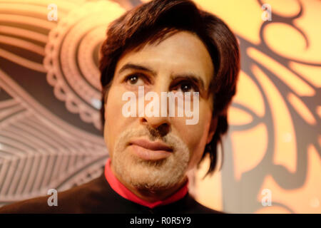 Wax figure of Indian Bollywood star Amitabh Bachchan at world renowned tourist attraction Madame Tussauds Wax museum in London, United Kingdom. - Stock Photo