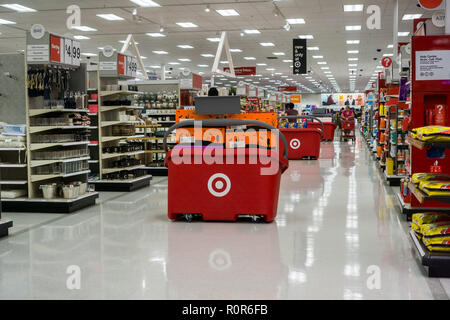October 17, 2018 San Jose / CA/ USA - Aisle in one of Target's stores in south San Francisco bay area - Stock Photo