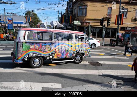 San Francisco Love Tours Volkswagen bus on Castro Street, The Castro District, San Francisco, California. - Stock Photo
