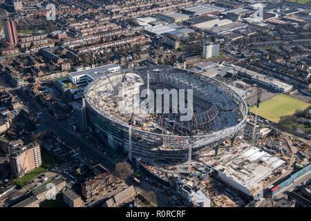 New Tottenham Hotspur FC stadium under construction, White Hart Lane, Tottenham, London, 2018. Creator: Historic England Staff Photographer. - Stock Photo