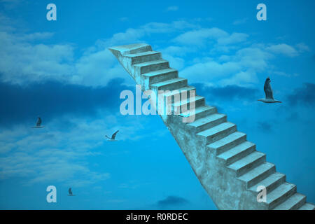 Old stone stairs to heaven with flying birds close up
