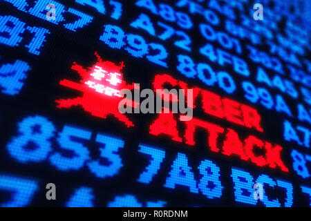 Computer worm and cyber attack concept illustration with virus symbol - Stock Photo
