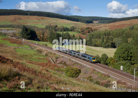 A Transpennine Express class 185 diesel train at Harthorpe  (just south of Beattock summit) on the west coast main line in Scotland - Stock Photo