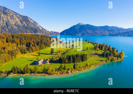 Peninsula Zwergern, Lake Walchensee, behind Jochberg, drone image, Upper Bavaria, Bavaria, Germany - Stock Photo