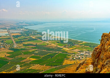 View of Sea of Galilee from above on Mount Arbel in Israel - Stock Photo