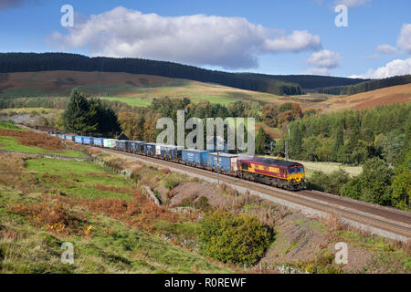 DB Cargo Class 66 locomotive at  Harthorpe on the west coast main line in SCotland with a intermodal container freight train - Stock Photo