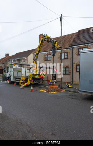 BT Openreach Engineers replacing telegraph pole in Wells, Somerset. - Stock Photo