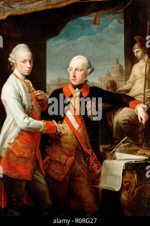 Portrait of Emperor Joseph II (right) and his younger brother Grand Duke Leopold of Tuscany (left), who would later become Holy Roman Emperor as Leopold II. Pompeo Batoni, 1769 - Stock Photo