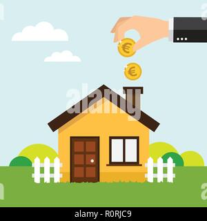 Hand putting coin in house piggy bank. Vector illustration.
