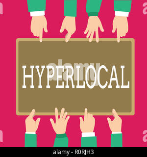 Word writing text Hyperlocal. Business concept for Relating to Concerning a small community or geographical area. - Stock Photo