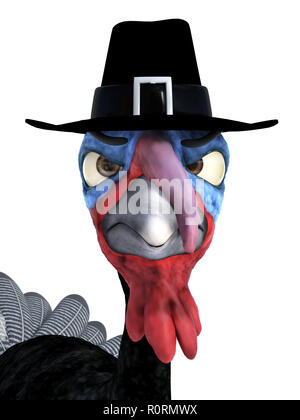 3D rendering of a silly cartoon turkey wearing pilgrim hat and looking very angry. White background. - Stock Photo