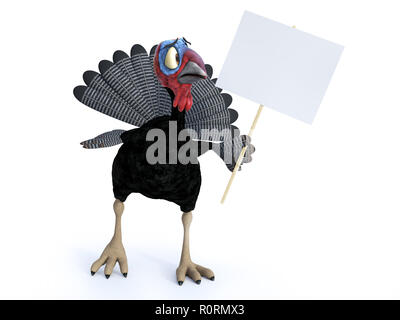 3D rendering of a silly cartoon turkey looking at a blank sign he is holding. He looks a bit nervous. White background. - Stock Photo