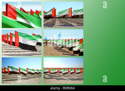 Collage with waving flags of the United Arab Emirates to celebrate the anniversary of Independence Day with copy space for text - Stock Photo