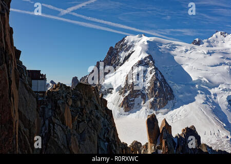 Pointe Lachenal, Chamonix, south-east France, Auvergne-Rhône-Alpes. Views from cable car towards Pointe Lachenal with Mont Blanc du Tacul in backgroun - Stock Photo
