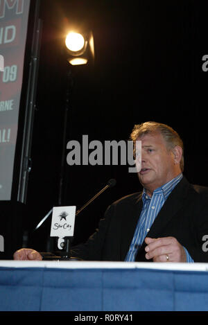 John Farnham holds a press conference at the Lyric Theatre in Star City Casino to announce his 'Live By Demand' tour being held in small, intimate venues across Australia in September and October of 2009.   During the press conference, Farnham stated that his return to live music was inspired by Chris Martin and Coldplay after they invited him to share the stage for their performance during the Sound Relief concerts held simultaneously in Sydney and Melbourne on March 14, 2009, to raise funds for victims of Australian bushfires.  Farnham also declared that his fondness for his fan-base inspire - Stock Photo