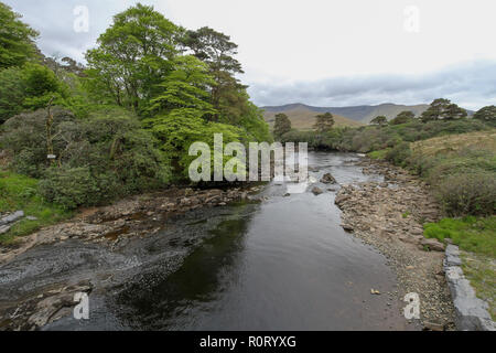 Salmon river in Ireland in springtime - low water and pools on the River Erriff, a spate river, in County Mayo, in the west of Ireland. - Stock Photo