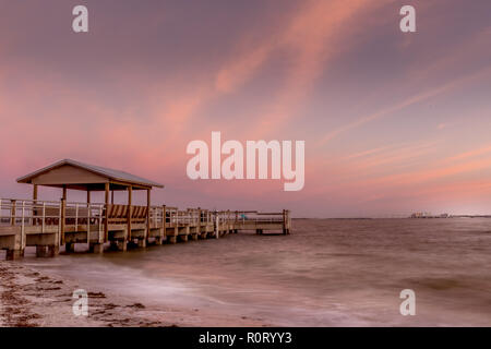Pier to the ocean on Sanibel Island, Florida - Stock Photo