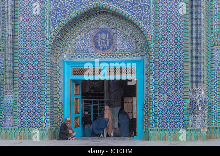Detail of The Tilework Architecture Of The Shrine Of Hazrat Ali, also called the Blue Mosque, Mazar-e Sharif, Afghanistan - Stock Photo