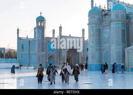 Pilgrims At The Shrine Of Hazrat Ali, also called the Blue Mosque, Mazar-e Sharif, Afghanistan - Stock Photo