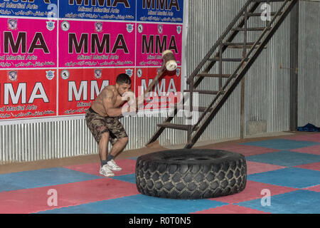 Amateur MMA (Mixed Martial Arts) Training, Mazar-e Sharif, Balkh Province, Afghanistan - Stock Photo