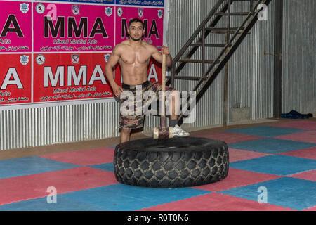 Amateur MMA (Mixed Martial Arts) Training, Mazar-e Sharif, Balkh Province, Afghanistan - Stock Photo