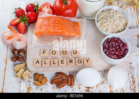 Food allergies - food concept with major allergens - Stock Photo