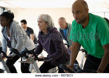 Focused people riding exercise bikes in spin class in gym - Stock Photo