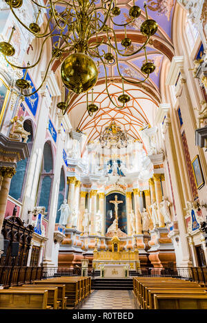 Interior Cathedral Basilica of apostles St. Peter and St. Paul. Kaunas, Kaunas County, Lithuania, Baltic states, Europe. - Stock Photo