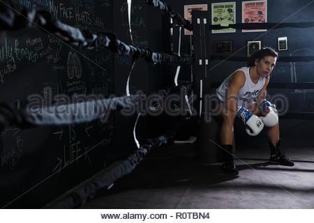 Portrait tough female boxer resting in boxing ring corner - Stock Photo