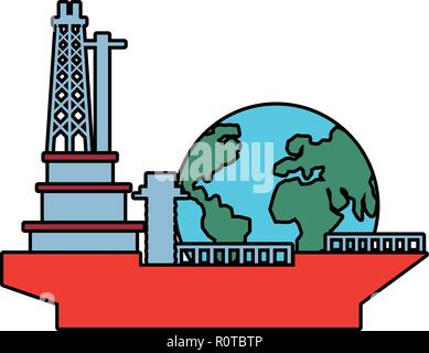 tanker ship industry with world planet vector illustration design - Stock Photo