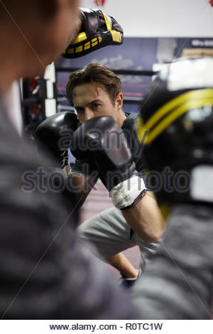 Focused male boxer training in gym - Stock Photo