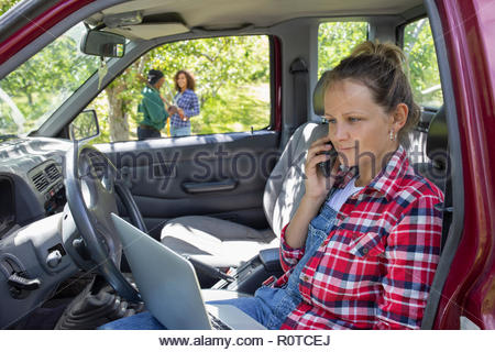 Female farmer using laptop in truck in orchard - Stock Photo