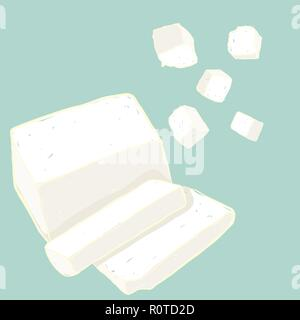 Vector painterly set of tofu. Editable, scalable illustration isolated on a light blue background. Use it for recipes, restaurant menus and as food el - Stock Photo