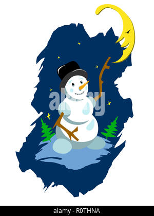 Stock Illustration Snowman and Moon on a White Background - Stock Photo