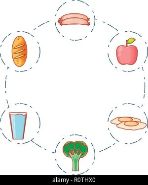 fresh apple fruit with set icons vector illustration design - Stock Photo