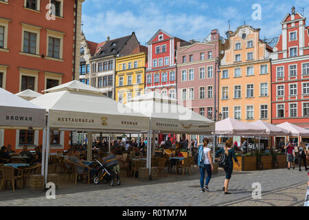 Wroclaw market square, view in summer of the colorful Market Square (Rynek) in the central Old Town area of Wroclaw, Poland. - Stock Photo