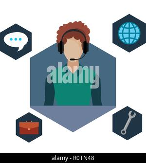 agent man call center with headset support vector illustration - Stock Photo