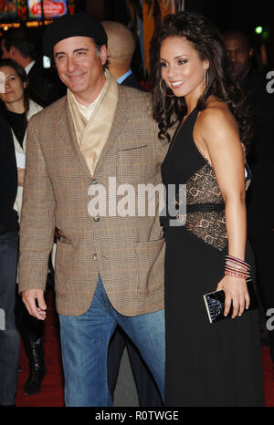 Andy Garcia and Alicia Keys arriving at the Smokin' Aces at the Chinese Theatre In Los Angeles. January 18, 2007.  smile 3/4          -            09  - Stock Photo