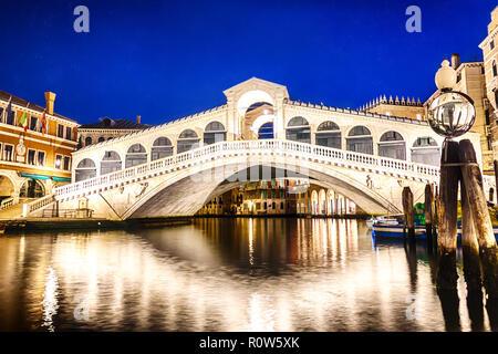 The Rialto bridge in Venice, night view - Stock Photo