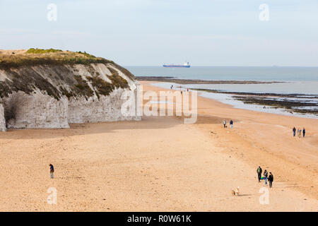 Walking the dogs on the beach at Botany Bay, near Broadstairs, Kent, UK, autumn. - Stock Photo