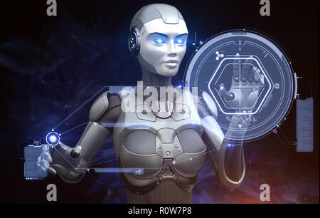 Robot is working with high tech touchscreen. 3D illustration - Stock Photo