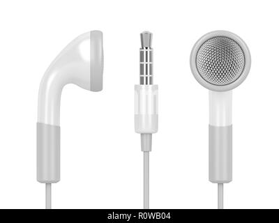 Earphones with 3.5mm headphone plug, isolated on white background - Stock Photo