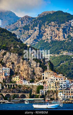 Positano, Amalfi Coast, Campania, Italy. Beautiful View of Positano along Amalfi Coast in Italy in summer. Morning view cityscape on coast line of med - Stock Photo