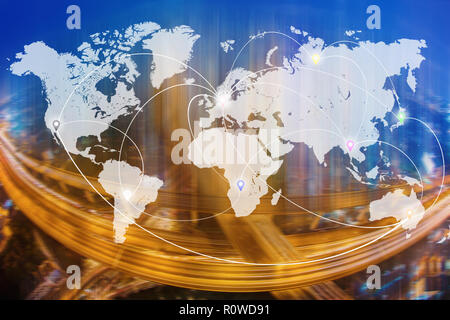 Connection line icons on world map with blurred city and transportation system background. Global wireless connection technology and worldwide busines - Stock Photo