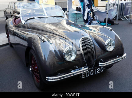 A 1950, Grey, Jaguar XK120 on display at the Regents Street Motor Show 2018 - Stock Photo