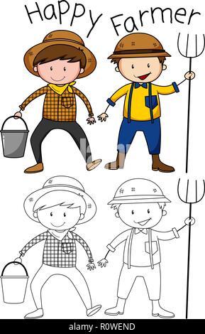 Doodle happy farmer character illustration - Stock Photo