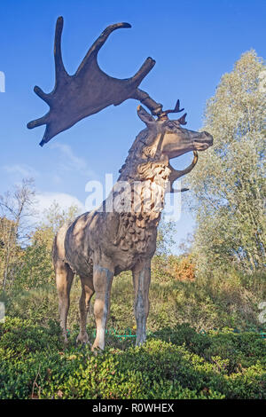 A Model of an extinct Giant Irish Elk from the Ice Age at Crystal Palace Park in South East London. - Stock Photo