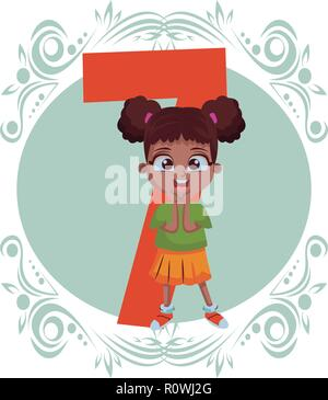 stand up girl number - Stock Photo