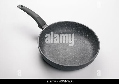 Stone Frying Pan Isolated on White Background. Top Angle View. - Stock Photo